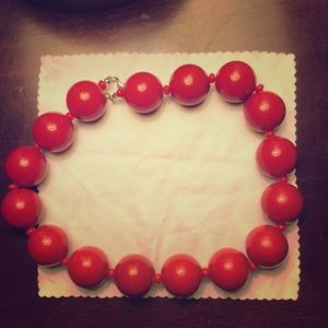 Jewelry - 1950s style Red beaded choker necklace